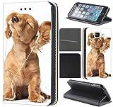 CoverHeld Hülle für Samsung Galaxy S4 Mini Premium Flipcover Schutzhülle aus Kunstleder Flip Case Motiv (1023 Hund Hunde Baby Welpe Braun)
