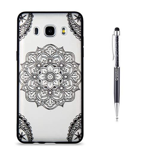 Grandoin Galaxy J5 2016 Hülle,J510 Hülle, 2 in 1 Ultra Dünne Schale Luxus Ultra Dünn Weich TPU Bumper Case Silikon Schutzhülle für Samsung Galaxy J5 2016 / J510(Schwarze Mandala)