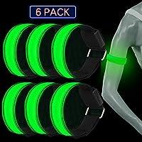 WenderGo 6 Pack LED Armband Flashing Reflective Arm Bands LED Safety Lights Sports LED Bracelet for Night Running Cycling Jogging Hiking