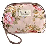 Micom Korean Flowers Printing Waterproof Travel Cosmetic Bags Pouch With Wristlet (Rose Pink)