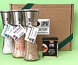Pack especias regalo: molinillo de sal ahumada de Sierra Nevada, sal azul zafiro de Persia y sal rosa del Himalaya, lata canela molida Ceylán.