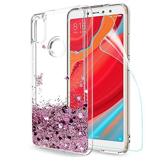 LeYi Hülle Xiaomi Redmi S2 Glitzer Handyhülle mit HD Folie Schutzfolie,Cover TPU Bumper Silikon Flüssigkeit Treibsand Clear Schutzhülle für Case Xiaomi Redmi S2 Handy Hüllen ZX Rot Rosegold