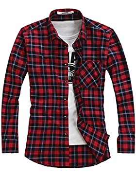 OCHENTA - Camisas casuales - Manga larga - Franela a cuadros - Hombres