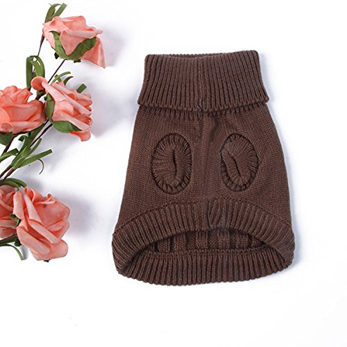 MegOK Dog Clothes Small Pet Dog Puppy Cat Winter Warm Cozy Sweater Knitwear Puppy Knit Coat Clothes,Brown,XS,China -