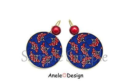 Boucles d'oreilles Wax rouge et bleu bijou femme cabochon ethnique Afrique