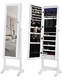Songmics Schmuckschrank spiegel mit LED Beleuchtung abschließbar JBC94W