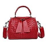 Pu Gewebte ReißVerschluss-Handtasche Trend Einzelne Schulter Messenger Bag PersöNlichkeit Wild Red