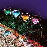 4Solar Power Gartenstecker Lichter Diamant Form Weg Lampe bunt LandSchaft LED Outdoor Zaun Rasen Beleuchtung mehrfarbig