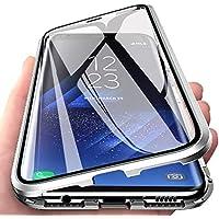 CoqueCase Funda para Samsung A70, Adsorción Magnética 360 Grados Protección Carcasa Samsung A70 Transparente Ambos Lados Vidrio Templado Anti Choque Case Plata