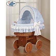 Mi Dulce Bebé–Cosy mimbre Cuna Moisés Basket–Azul