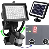 MicroSolar - 80 LED - Lithium Batterty - Digitally Adjustable TIME & LUX with Button - Vertically and Horizontally Adjustable Light Fixture - Designed for UK Weather - Aluminum Light Fixture - Solar Motion Sensor Light