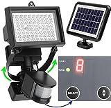 80 LED draußene solare Motion Leuchte - digital regulierbare Zeit & Helligkeit - in 2 Achsen regulierbare solare Leuchte -Lithium Batterie