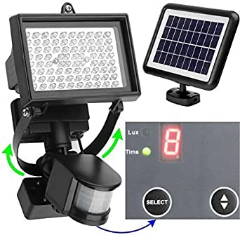 microsolar 80 led projecteur mural nergie solaire d tecteur de mouvement. Black Bedroom Furniture Sets. Home Design Ideas