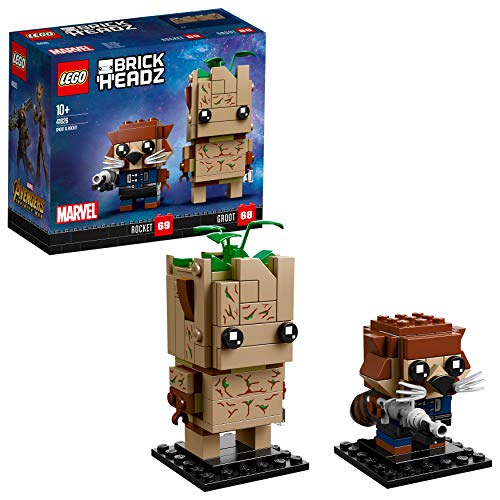LEGO 41626 BrickHeadz Marvel Avengers Infinity War Movie Groot and Rocket Legends Figures, Juguetes, Modelo De Colección
