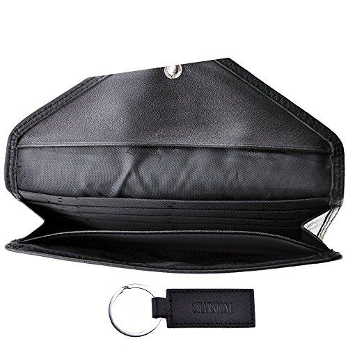 Charmoni–Taschen Umschlag Geldbörse Graukarte erlaubt Leder Rindsleder NEU abitain Gr. Einheitsgröße, Schwarz - Schwarz