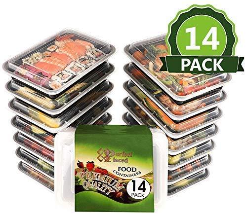 Lunchbox Set [14-teiliges] Bento Frischhalteboxen mit jeweils 1 Fäche für Meal Prep tragbar, luftdicht verschließbar, stapelbar, wiederverwendbar– mikrowellengeschirr , BPA-frei -kostenlosem E-Book