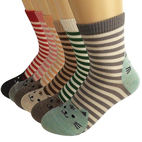 Ambielly Socken aus Baumwolle Thermal Socken Erwachsene Unisex Socken (6 Streifen Katzen)
