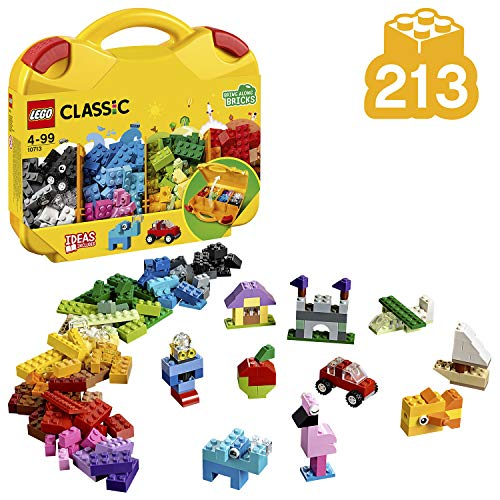LEGO 10713 Classic Suitcase On The Go Portable Bricks Storage Set with Wheels and Eyes, Contains 213 Pieces and Creative Building Ideas Young Builders, Various