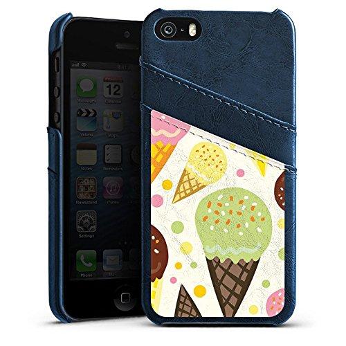 Apple iPhone 5s Housse Étui Protection Coque J'aime la glace ! Été Graphique Étui en cuir bleu marine