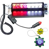 HQRP Car 8 LED Dash Strobe Fog Flash Emergency Warning Lights Red / White with 4 Suction Cups plus HQRP UV Meter