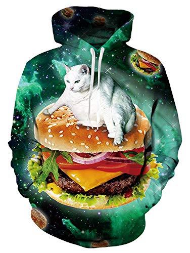 Spreadhoodie Mens Damen Hoodies Lustige 3D Galaxy Katze Gedruckt Neuheit Pullover Mit Kapuze Langarm Sweatshirt mit Fleecefutter Blau XXL -