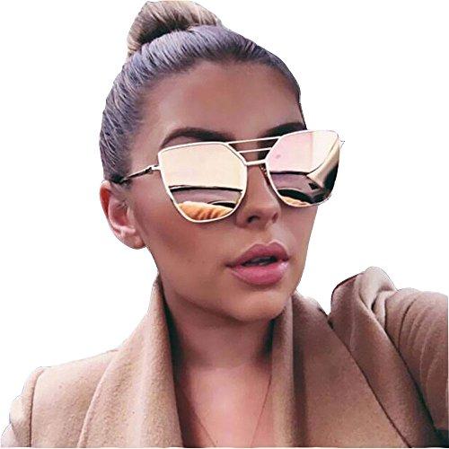 Lishy Fashion Unisex Sunglasses Vintage Irregular Glasses Aviator Mirror Design for Mens and Womens (Pink)