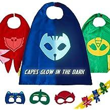 Set de Disfraces PJ Masks con 3 Capas, Máscaras y Pulseras de Gatuno, Buhíta y Gecko para Niños y Niñas - Trajes de Owlette, Catboy Gekko que Brillan en la ...