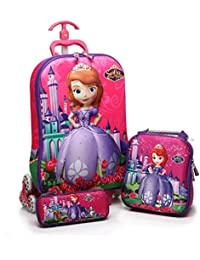 DFS Big Trendy 16 Inch 3 Pc 3D Children Trolley School Travel Bag With Wheels For Girls (Free Lunch & Pencil Box...