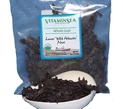 Vitaminsea Organico Nori Foglia Intero - Borsa di Alghe Marine da 226.9 G - USDA e Vegan Certificato - Kosher Raccolto a Mano e Seccato al sole - Raccolto Lungo la Costa dell'Oceano Atlantico (WL 8)