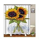 KnSam Duschvorhang Anti-Schimmel Wasserdicht Vorhänge an Badewanne Bad Vorhang für Badezimmer Sonnenblume 100% PEVA inkl. 12 Duschvorhangringen 165 x 200 cm