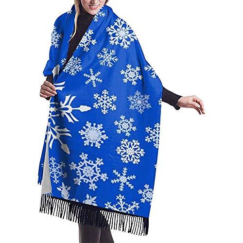 Elaine-Shop Großer Schal, nahtloses Muster aus Schneeflocken, Schalkragen, warmer Winter-Schal, Cape, übergroße Schals