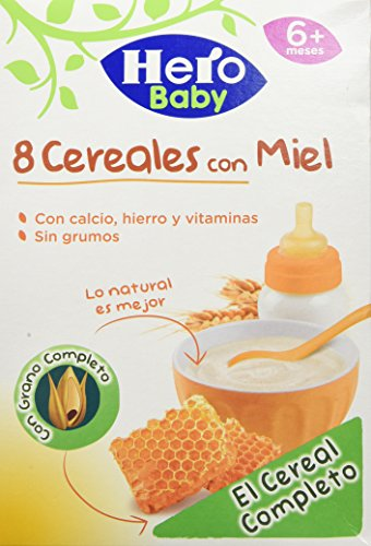 Hero Babynatur - 8 Cereales Miel 500 gr - Pack de 6 (Total 3000 grams)