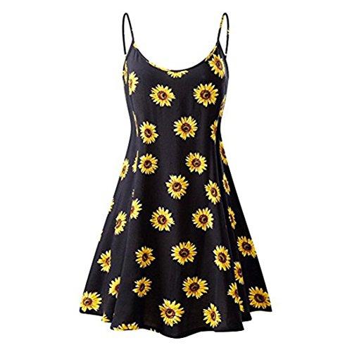 damen Sommer Kleid Vintage Floral bedruckt ärmellose Riemchen Strand Swing Camis miniKleid (Gelb, S) (Slip-schulter-tasche)