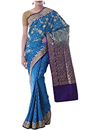 Neelam Sarees Women's Banarasi Handloom Pure Silk Saree with Blouse Piece (Deep Blue)