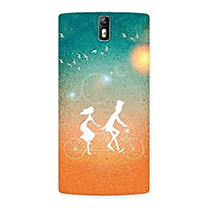 Delighted Cycle Couple Dream Multicolor Back Case Cover for One Plus One