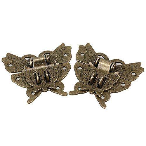 BQLZR Mini Antik Bronze Schmetterling Schnalle für Schmuckkoffer Bügelschloss Schranktür Vorhängeschloss 2 Stück