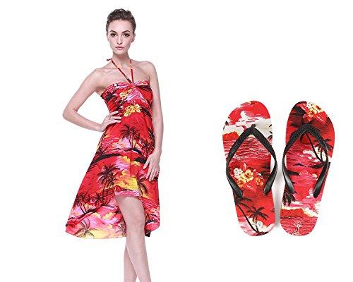 an Luau Outfit Aloha Schmetterling Kleid und Flip Flops in Sonnenuntergang rot Schmetterling Kleid S Sandale 6 ()
