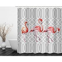 Cortina de baño de Tela Impermeable Resistente Cortina de Ducha al Moho con Imagen de Flamenco Cortina de Bañera 180 cm x 180cm Poliéster con 12 Anillos