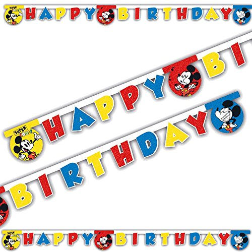 2m Happy-Birthday-Partykette * MICKEY MOUSE - SUPER COOL * als Deko für Kindergeburtstag oder Mottoparty // Kinder Geburtstag Motto Party Micky Maus Letter Banner Girlande