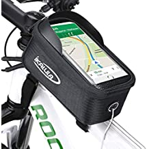 Bolsa de Bicicleta, ikalula Impermeable Marco Frontal Tubo Bolsa Manillar Ciclismo con Desmontable y Pantalla PVC Transparente Táctil Bici Bolso adecuado para Teléfono Móvil de 5,5 Pulgadas (Negro)
