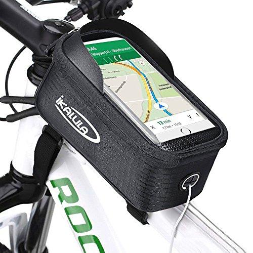Fahrradtasche Rahmentaschen, ikalula Visier-Design Wasserdichte Schattenschutz BTR-Fahrradtasche Handyhalterung mit durchsichtigem PVC-Fenster für iPhone 6s Plus/6 Plus/7 Plus/Samsung Galaxy S7/S7 edge andere bis zu 5,5 Zoll Smartphones