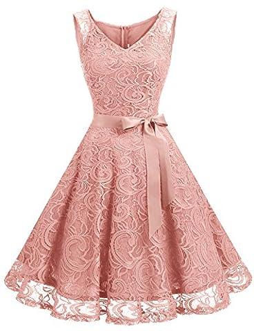 Robe Cocktail Rose - Dressystar DS0010 Robe femme soirée/demoiselle d'honneur/bal Col