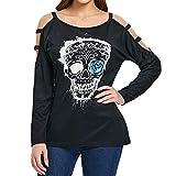 iHENGH Damen Mantel Top,Women Lange ÄRmel Casual Hollow Halloween SchäDel Print Shirt Bluse Crop Tops Clearance Sale (Schwarz,EU-40/CN-L)