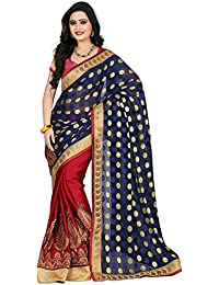 Womanista Women's Embroidered Faux Crepe Saree with Blouse Piece (FS6033-Blue & Maroon-Free Size)