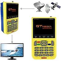 "GTMEDIA V8 Satellite Finder DVB S2 Localizadores de Satélites Buscador de satélite FTA Receptor de Señal de Satélite de TV Digital HD, 3.5"" LCD Batería 3000mAh Incorporada"
