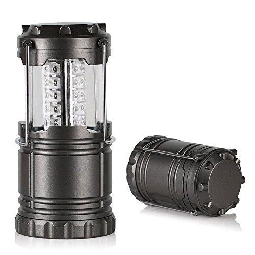 VERTEE Lanterne Exterieur Portable Pliable 30 LED Super Bright Lampe Phare Camping Randonnée Situations d'urgence Ouragans Pêche Chasse Maison Jardin Gris