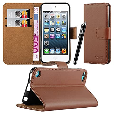 Apple iPod Touch 5th & 6th Generation - New Flip Wallet Book [Stand View] Premium Leather Case Cover + Free Screen Protector With Microfiber Polishing Cloth For Various Apple iPod Touch 5th & 6th Generation (Brown)