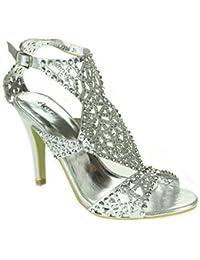 Mujer Señoras Multicolor Diamante Separar Tacón alto Punta abierta Noche Boda Fiesta Paseo Nupcial Sandalias Zapatos Talla