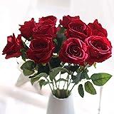 Künstliche Blumen, Fake Blumen Bouquet Rosen Seide Real Touch Brautschmuck Hochzeit Bouquet für Home Garden Party Floral Decor 10PCS Rot rot