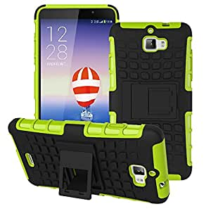 Heartly Flip Kick Stand Spider Hard Dual Rugged Armor Hybrid Bumper Back Case Cover For Micromax Canvas Nitro A310 A311 Dual Sim - Great Green